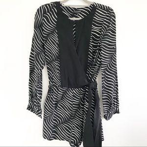 Intermix Zebra Print Long Sleeve w bow Romper